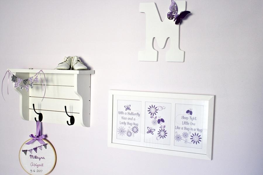 lavender and gray nursery decor
