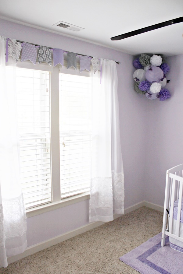 lavender and gray nursery decor