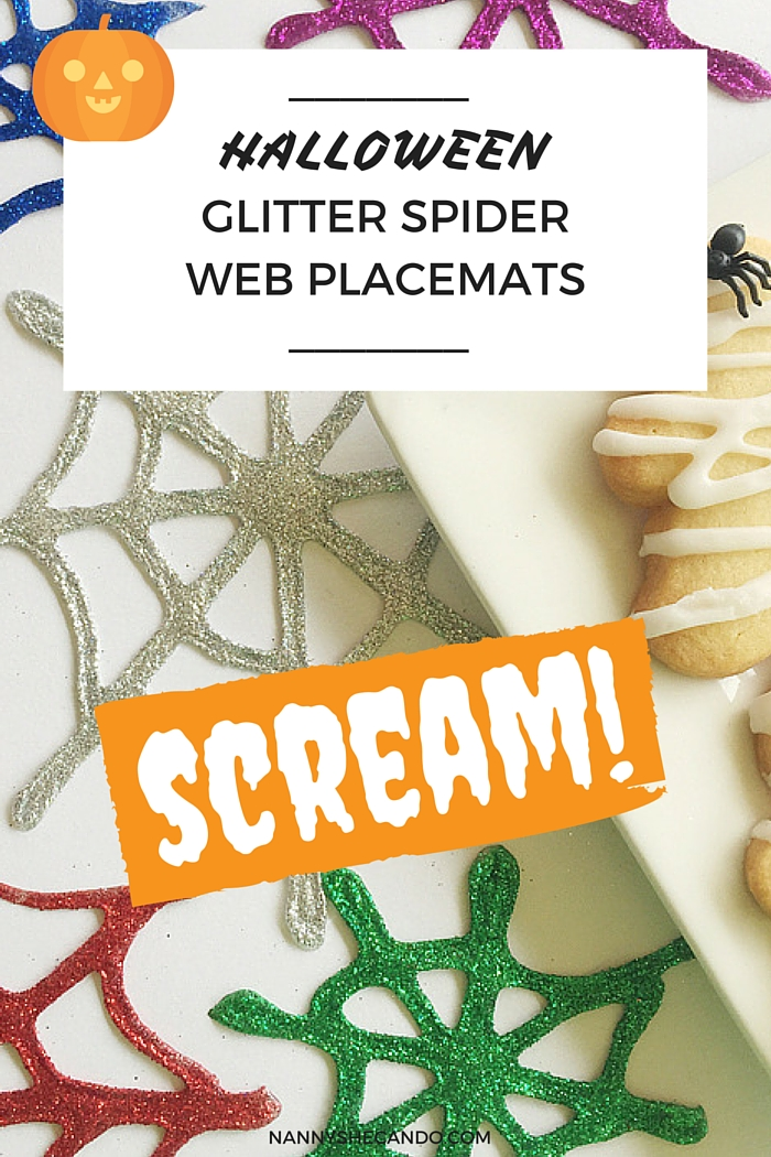 Halloween Glitter Spider Web Placemats, Halloween Decorations, trick or treat, Olivia S Foster, NANNY SHECANDO