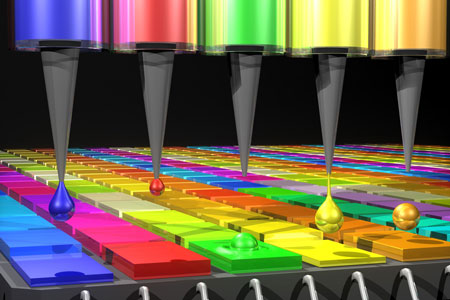 In this illustration, the Quantum Dot (QD) spectrometer device is printing QD filters