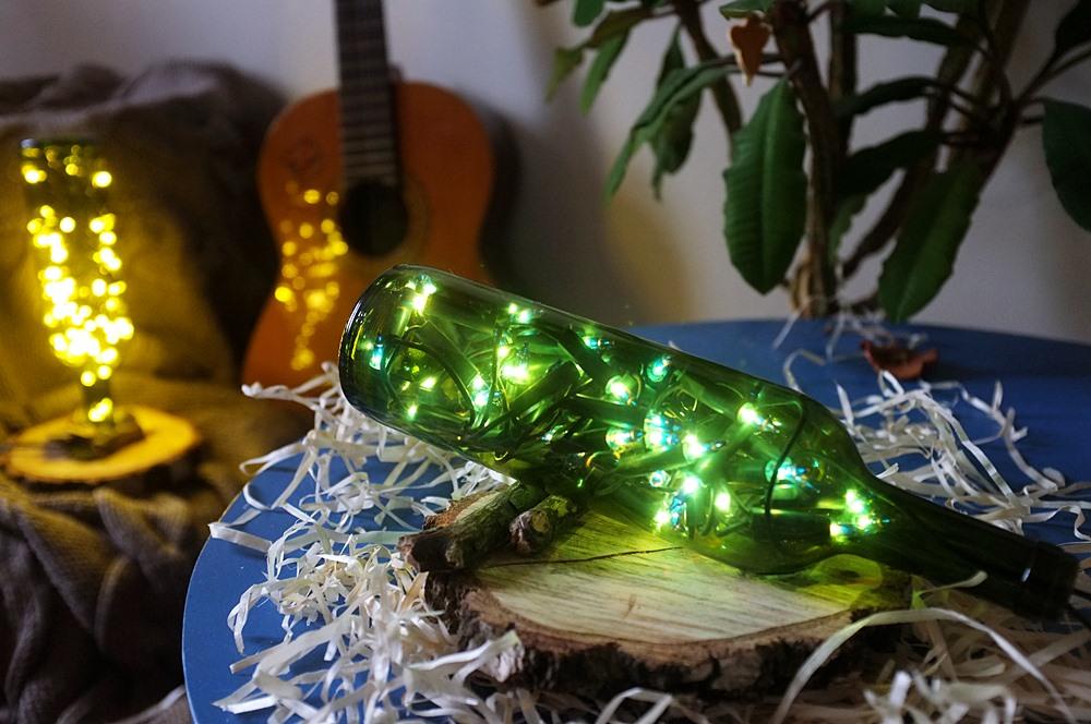 dekoracje świąteczne szklane butelki