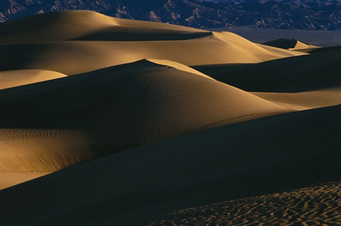 Sultry patterns of light and shadow on Mesquite Flat dunes in Death Valley National Park, CA., (c) Jerry Ginsberg