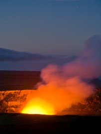 Hale Maumau Crater before dawn, Kiluea Volcano, Hawaii Volcanoes, National park. © Jerry Ginsberg