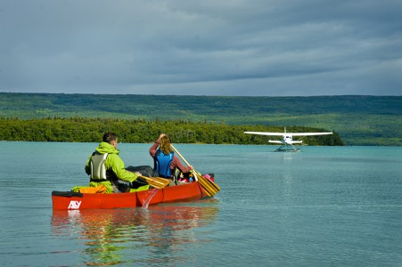 Paddling along the shores of Naknek Lake, Katmai National Park, Alaska.