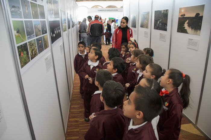 Children at a project exhibit in Durango, Mexico