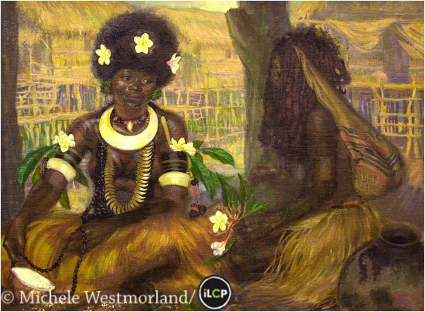 Painting by Caroline Mytinger. A young girl in dance costume, sorceress named Kori Toboro, wearing a net bag. Motuan village of Hanuabada, Port Moresby, Papua New Guinea. Courtesy of Phoebe Hearst Museum of Anthropology, University of California at Berkeley.