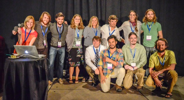 February 21, 2015. San Diego, CA. NANPA's 19th Nature Photography Summit. The College Scholarship students, sponsored by the NANPA Foundation, gather on stage after presenting their multimedia production of the San Diego National Wildlife Refuge. The video was photographed and produced during the summit and donated to the refuge for educational purposes. © Mark A. Larson
