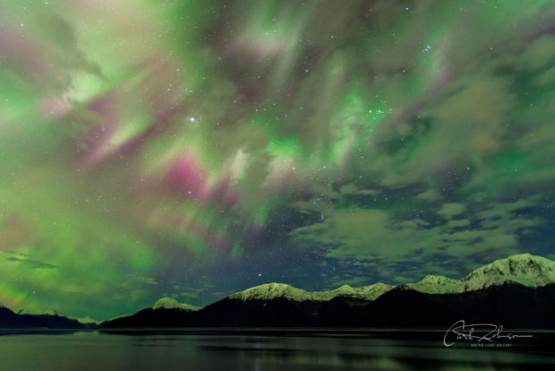 Aurora borealis display in early November over the Turnagain Arm, south of Anchorage, Alaska.