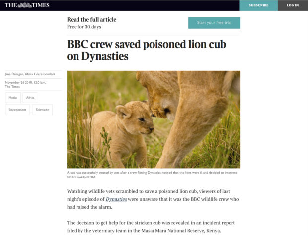 Screen shot of The Times (UK) article about a film crew intervening in nature.