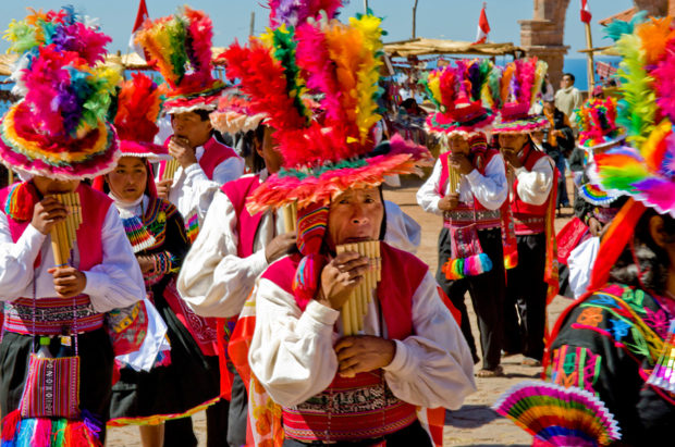 Colorful Fiesta de San Diego on Taquile island in Lake Titicaca.