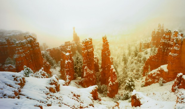 Often overlooked Fairyland Point in snow and fog at the north end of Bryce Canyon National Park.