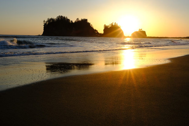 Sunstar at sunset on La Push Beach.