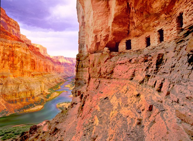 Perhaps the most complete Anasazi granary anywhere rises several hundred feet above the Colorado River deep inside the Grand Canyon.