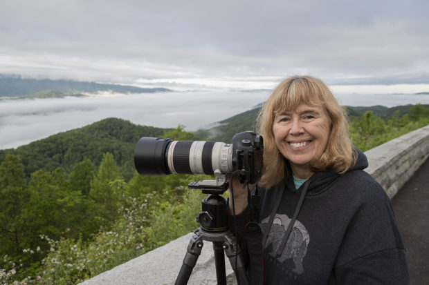 Susan Day on a foggy morning in Great Smoky Mountains National Park. Photo by Richard Day