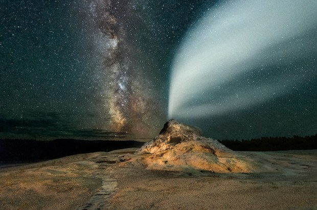 Showcase 2019, Judges' Choice, Scapes: White Dome Geyser under the Milky Way, Yellowstone, © Jeff Vanuga.