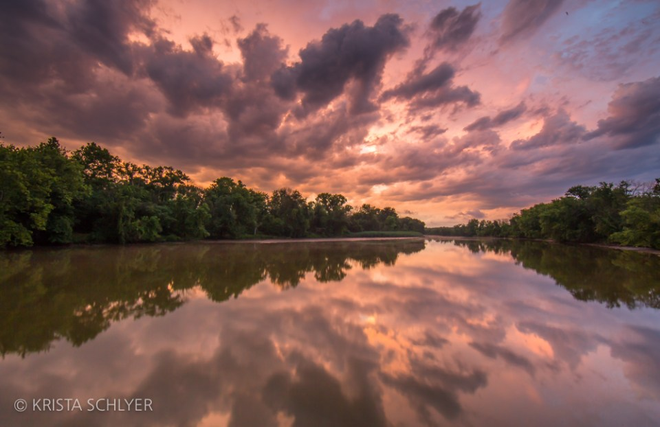 Sunset over the Anacostia River in Prince George's County, Maryland.