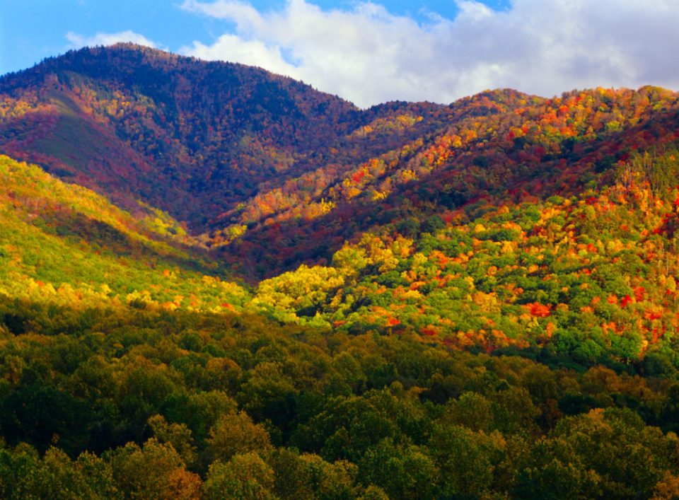 Seen from the Newfound Gap Road just south of Gatlinburg, TN, Mt. Le Conte is a popular stop for lots of drivers.