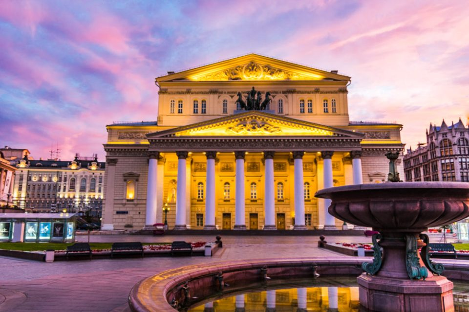 Famed Bolshoi Theatre in Moscow, Russia.