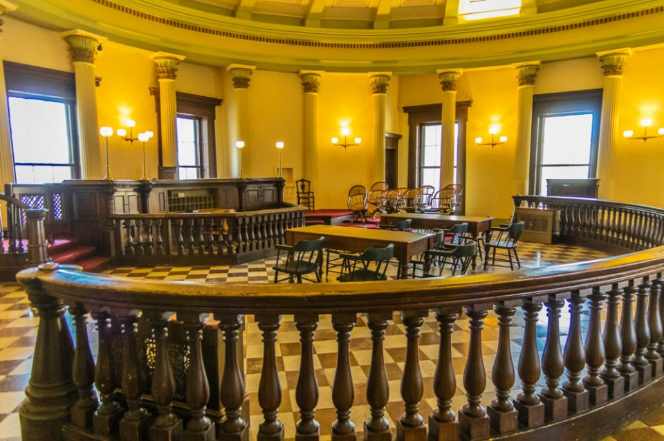 Courtroom in the historic Old Courthouse of St. Louis, MO where the Dred Scott case was first heard in Gateway Arch National Park, MO.