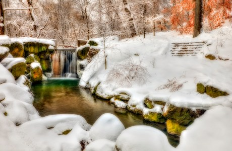 A waterfall is a great place to find color… even in the winter.