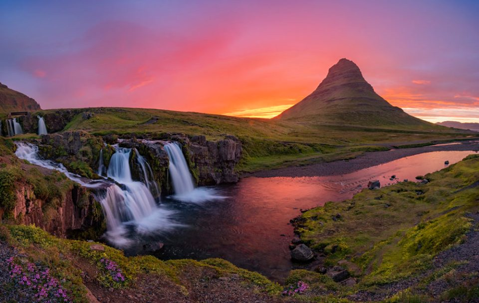 "Showcase 2020 Top 100 winner: ""Flamboyant, Kirkjufell Mountain, Iceland"" © Vandana Bajikar."