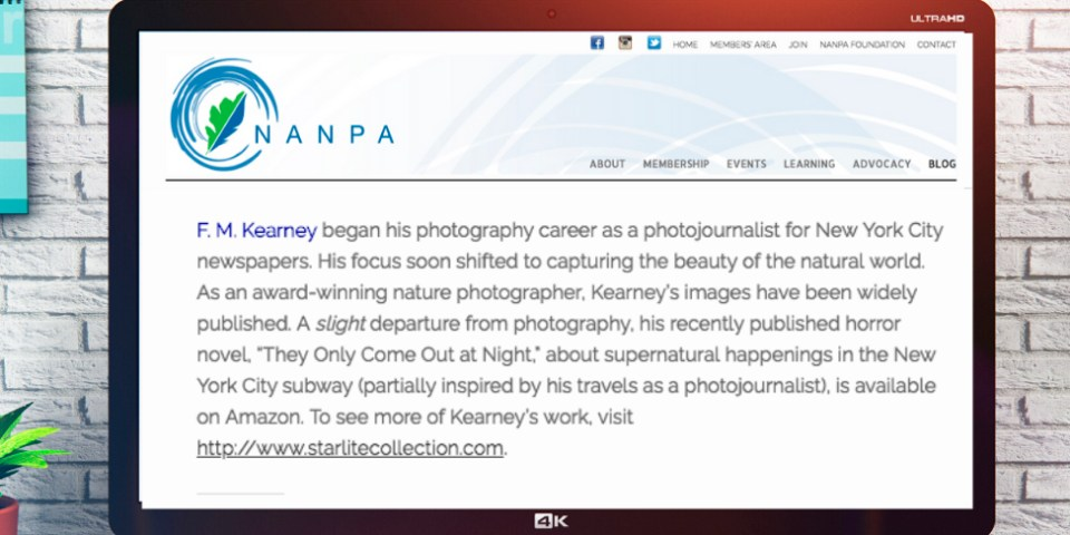 Image of a bio. F.M. Kearney is a frequent contributor to the NANPA blog. His bio, shown here, uses a little humor while still meeting other criteria for a great bio.