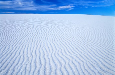 Glowing gypsum dunes in White Sands National Park, New Mexico.