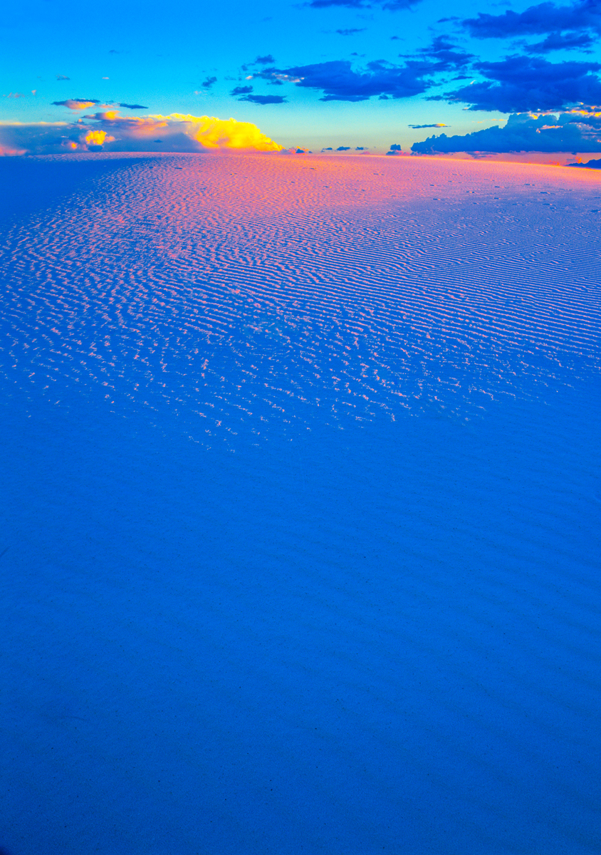 The pastel shades of dawn light in White Sands National Park, New Mexico.