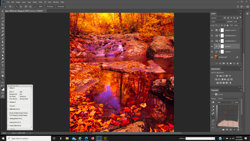 When using a Curves layer for color correction, use the Color Blending Mode.