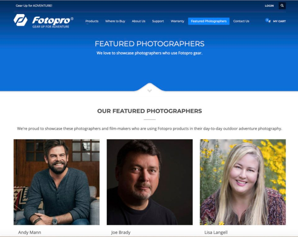 Screen shot of Fotopro Ambassadors page
