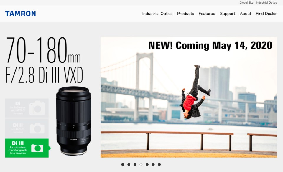 Home Page of Tamron's Website