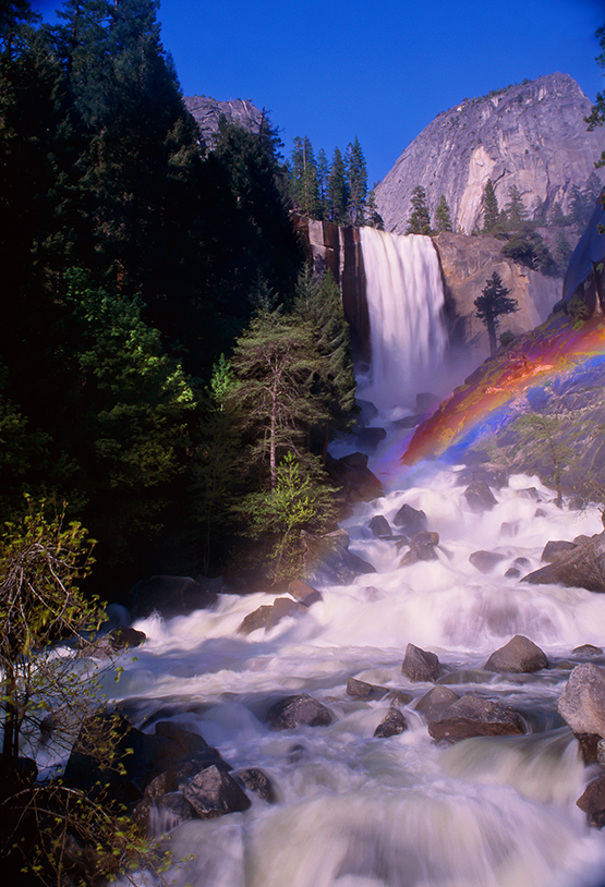 Vernal Falls – An oldie, but a real goodie. After crawling out on a large rock overhanging the falls, I saw this rainbow below me. 35mm SLR, short zoom, Velvia.