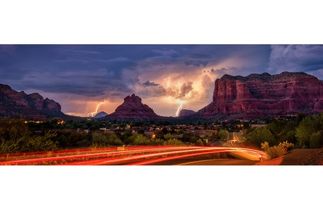 "Showcase 2020 Top 100 Winner: ""Long Exposure Composite of Lightning over Bell Rock and Courthouse Butte, Sedona, Village of Oak Creek, Arizona"" © Bob Coates"