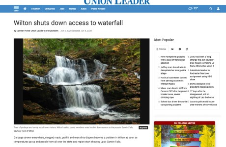 Article about closing a waterfall