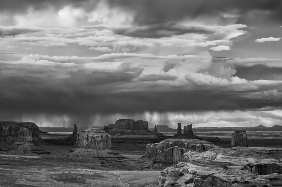 View from Atop Hunt's Mesa during a Thunderstorm  in Monument Valley © Jerry Ginsberg