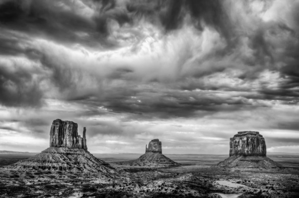 The famed Mittens, calling card of Monument Valley Tribal Park, Utah and Arizona. © Jerry Ginsberg