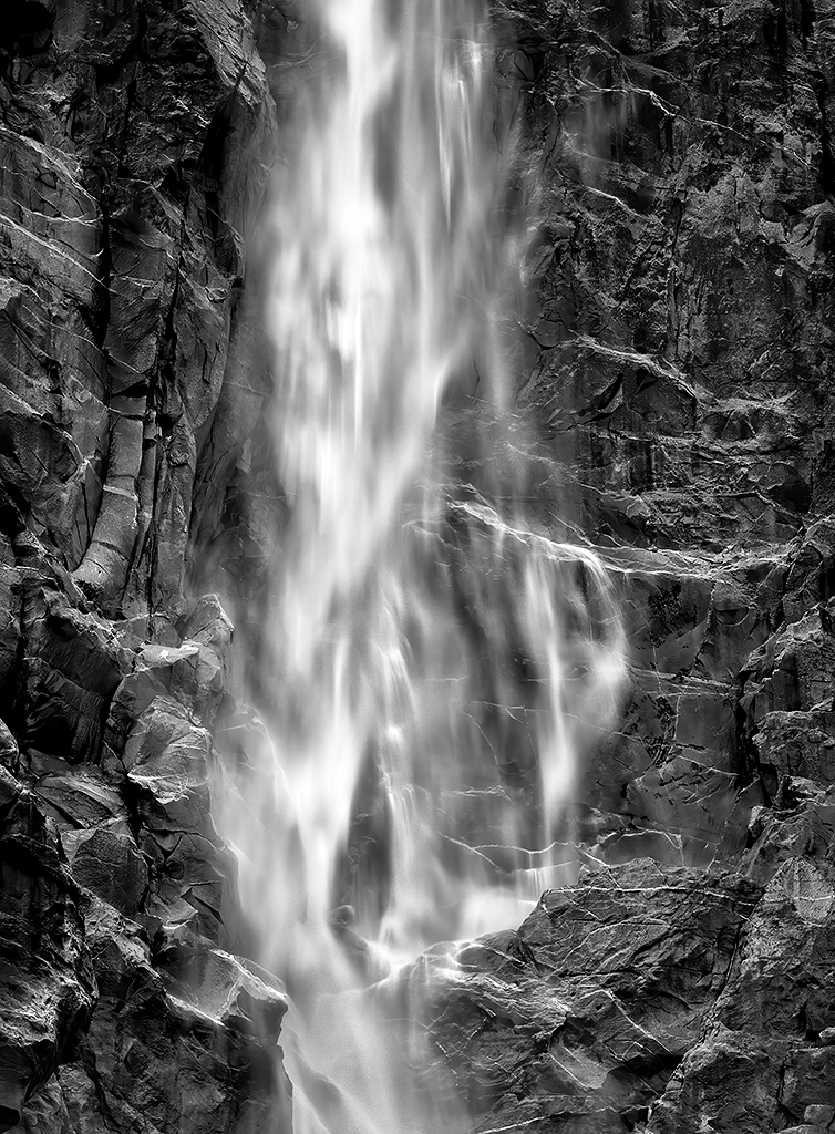 Black and white image of Bridalveil Fall, Yosemite, by Michael Shane