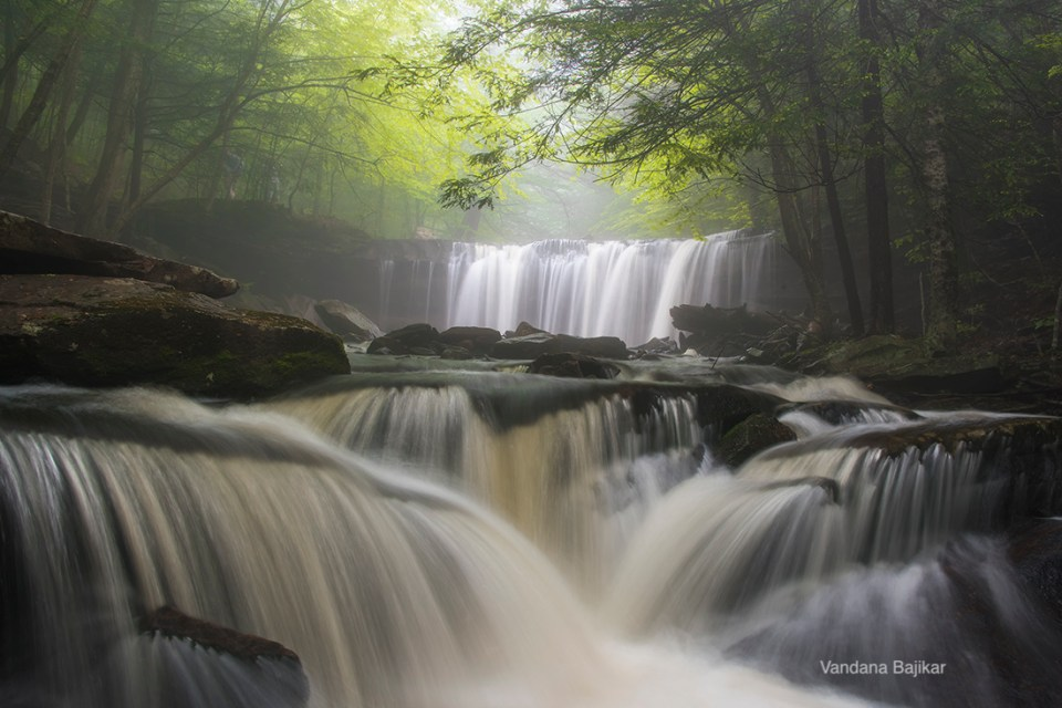 "Waterfall photo. Showcase 2020 Top 100 Winner: ""Mysterious Spring Dreams, Ricketts Glen State Park, Pennsylvania"" © Vandana Bajikar"