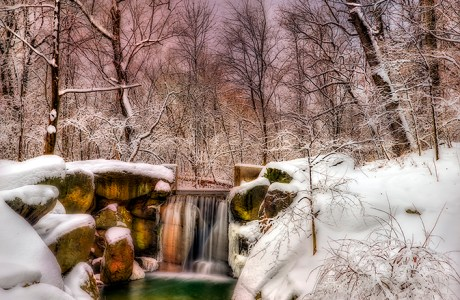 Enhanced Version of Photo of Snow-Covered Waterfall in The Loch © F.M. Kearney