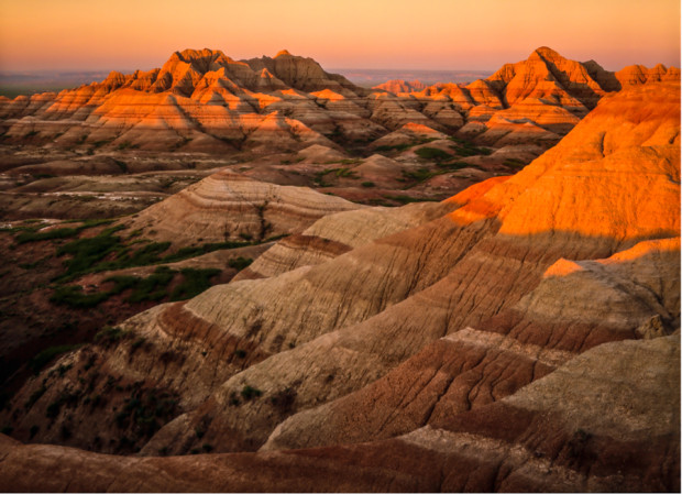 Burris basin is part of the rugged badlands of the North unit of Badlands National Park, SD.