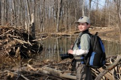 Carson at the beaver pond project site on Banshee Reeks. © Jim Clark