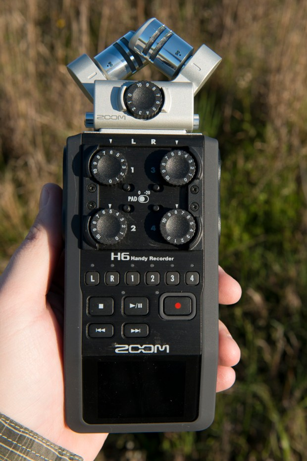 A Zoom H6 external audio recorder with the stereo X/Y microphone attached. Other microphones available include a shotgun microphone and a mid-side configuration.
