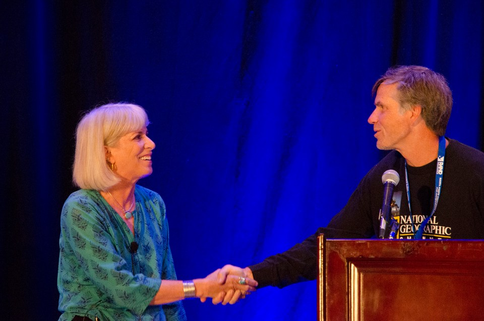 Keynote Speaker Nevada Wier is introduced by Master of Ceremonies Roy Toft. © Mark Larson