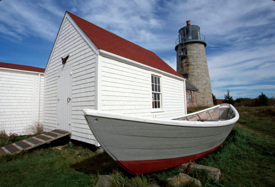 The Monhegan Lighthouse shelters a showcase of island arts, crafts, and history. © Budd Titlow