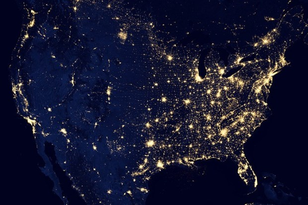 Satellite photo of United States at night.