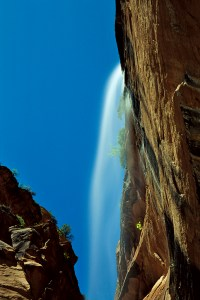 Rare waterfall in Zion Canyon, Zion National Park, Utah. © Jerry Ginsberg