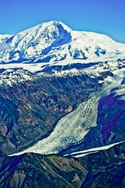 Towering Wrangell Mountains in Wrangell-St. Elias National Park, Alaska.