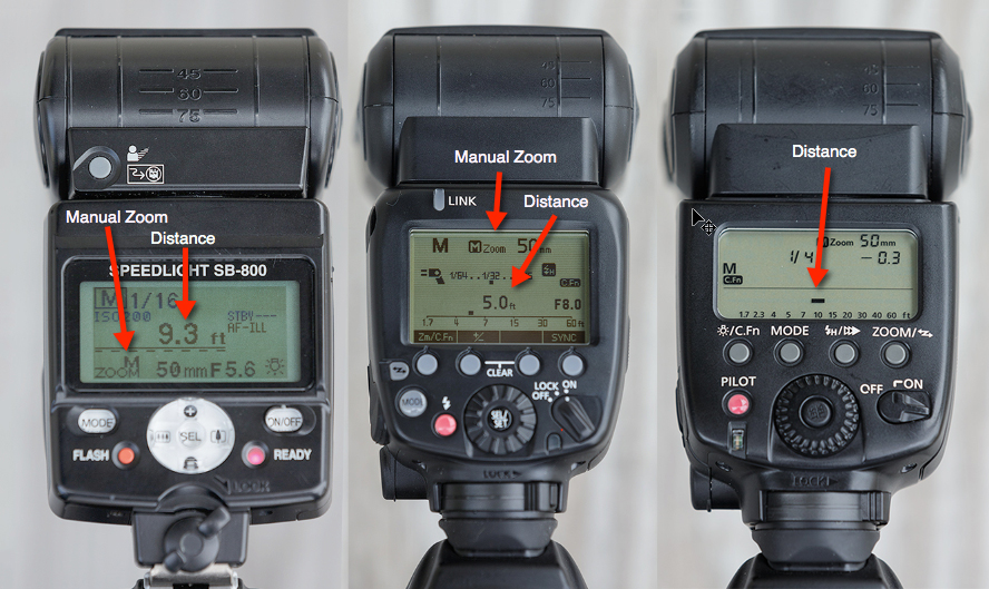 A few examples of where to find the focusing distance on your flash. Flashes set to manual.
