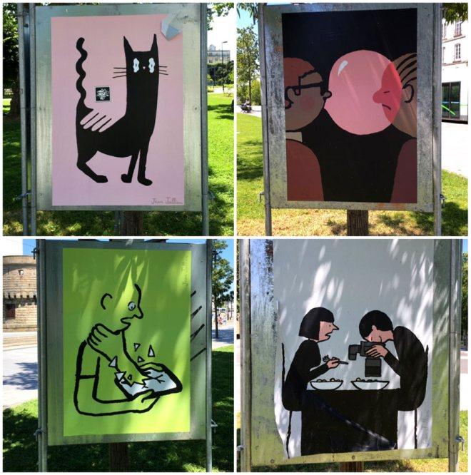 Affiches de Jean Jullien, oeuvre du Voyage à Nantes 2016