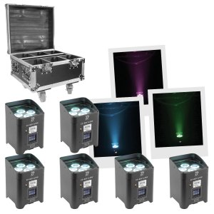 6 Projecteurs sur Batterie + 1 Flight Case BOOMTONE DJ EZBOX PACK - Sono 85 - Sono Nantes - Location et Vente de matériel de sono de lumière et de vidéo